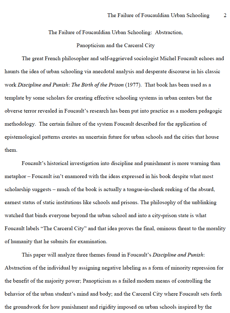 The Failure of Foucauldian Urban Schooling: Abstraction, Panopticism and the Carceral City