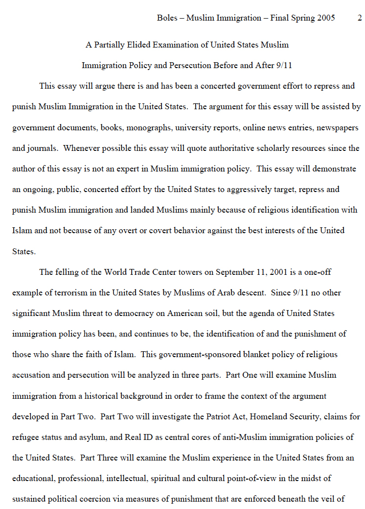 A Partially Elided Examination of United States Muslim Immigration Policy and Persecution Before and After 9/11